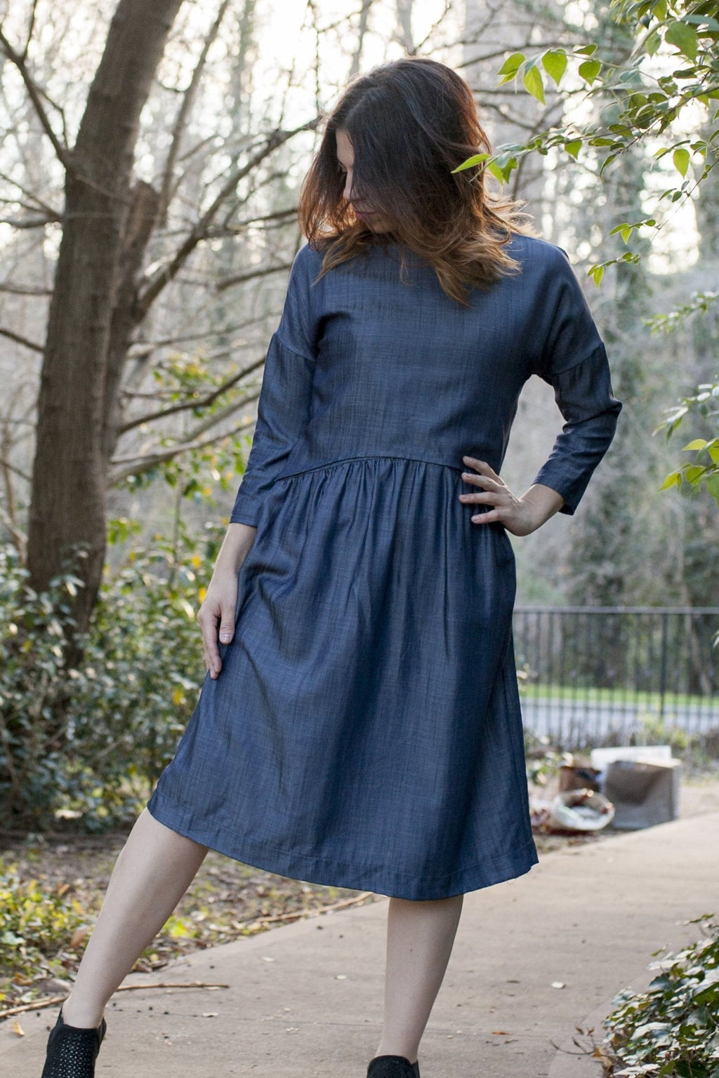 Final SALE Havah Blaze in Denim Tencel - Nursing Friendly