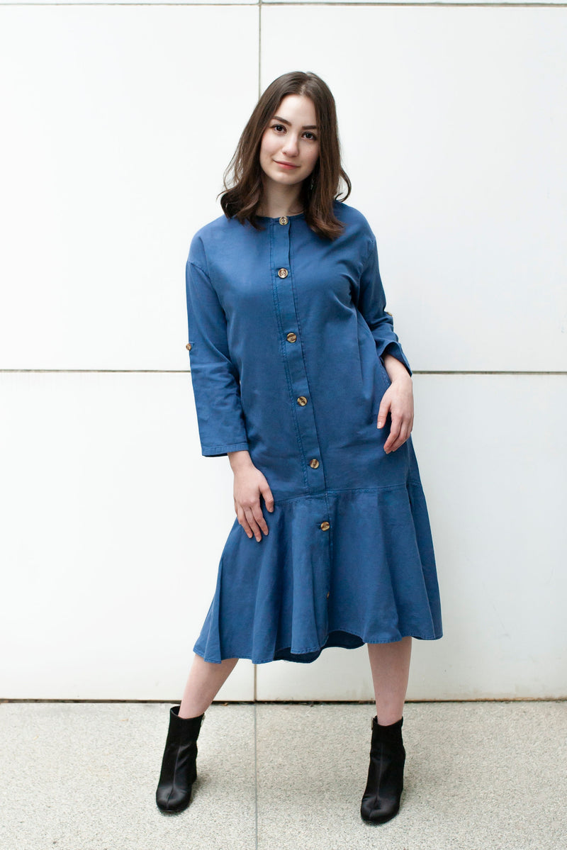 Havah Thrill Dress in Blue - Nursing Friendly Dress with Hidden Zippers
