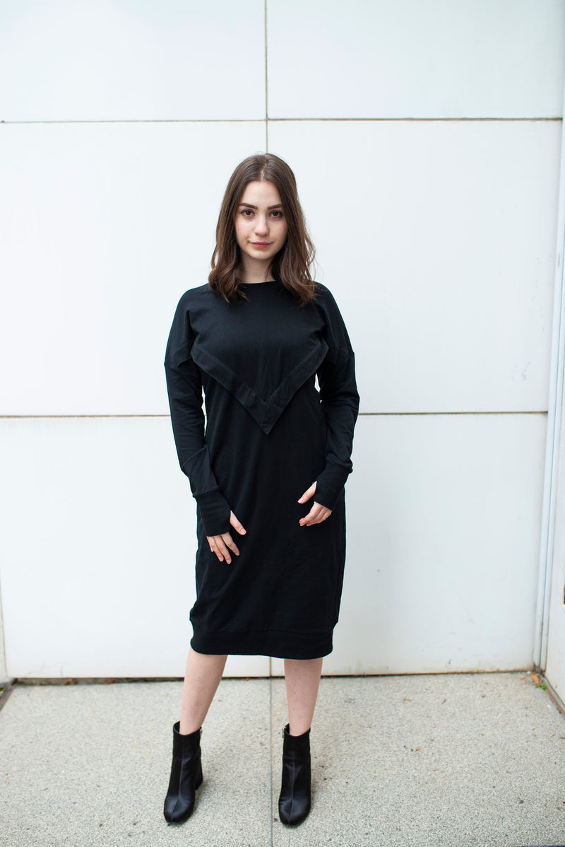 nursing friendly Varsity Dress in Black