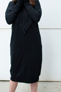 modest nursing Varsity Dress in Black