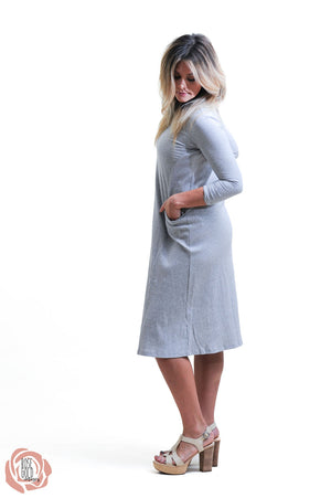 Ribbed Grey Pocket Dress Nursing Friendly and Beyond