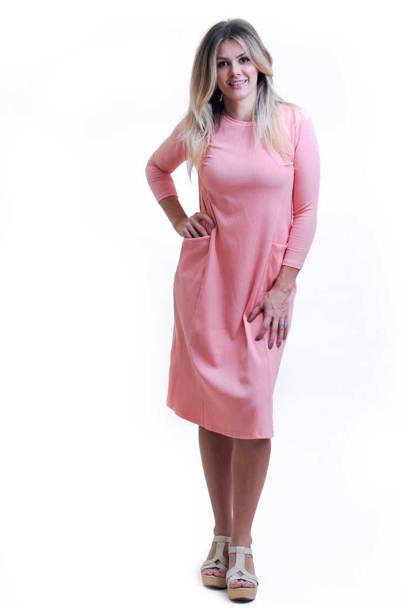 Ribbed Coral Pocket Dress Nursing Friendly and Beyond Final Sale