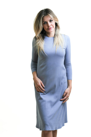 Ribbed Swing Dress in Slate Blue- nursing friendly and beyond