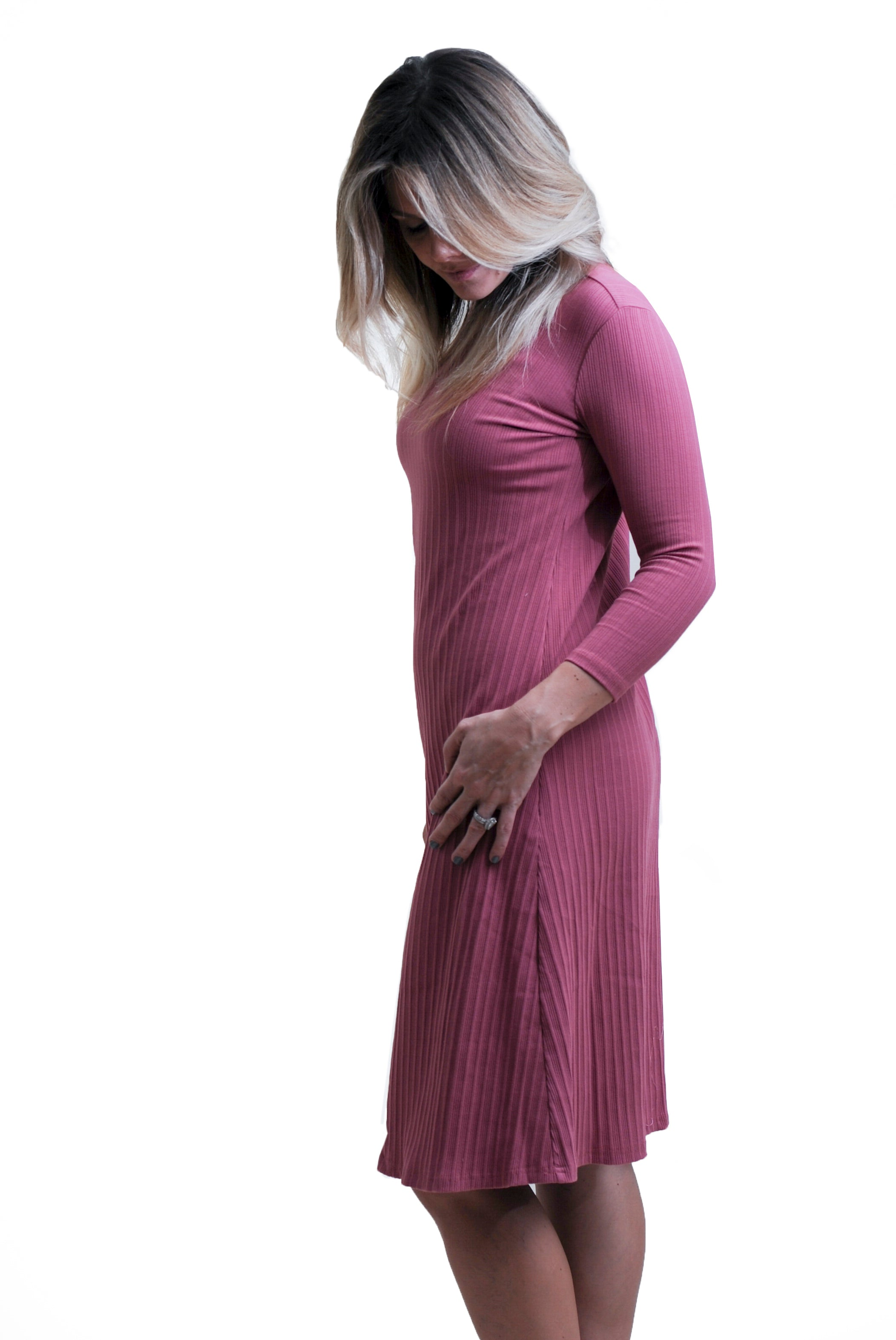 2a237df330302 Nursing Dresses for moms- Mauve ribbed Sundrop with side zippers ...