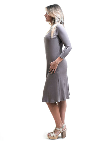 Ribbed Swing Dress in Taupe- Nursing friendly and beyond midi dress