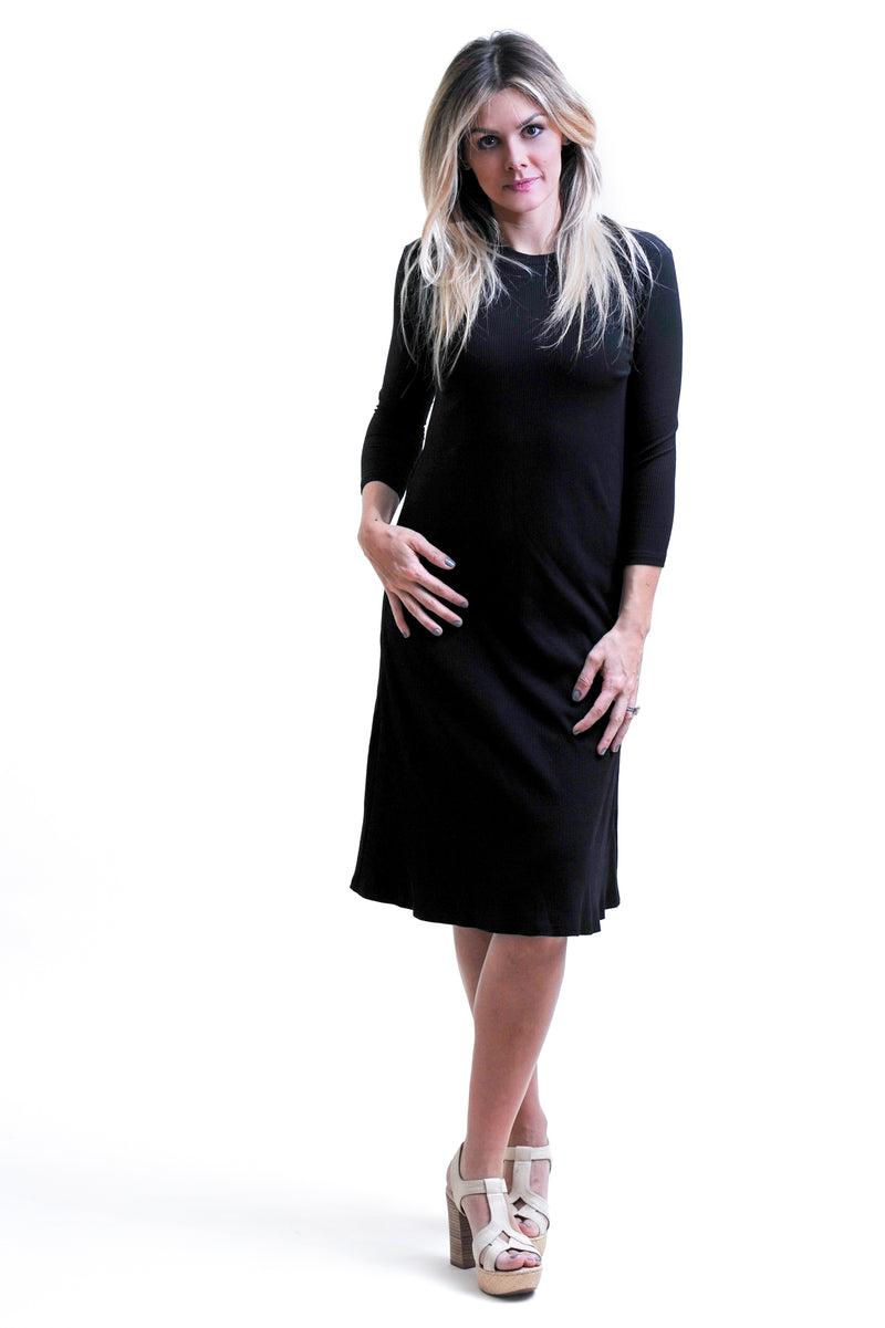Black Ribbed Swing Dress- nursing friendly and beyond dress