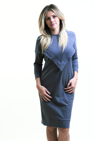 Ribbed Varsity Dress in Blue skin to skin contact dress for nursing and beyond