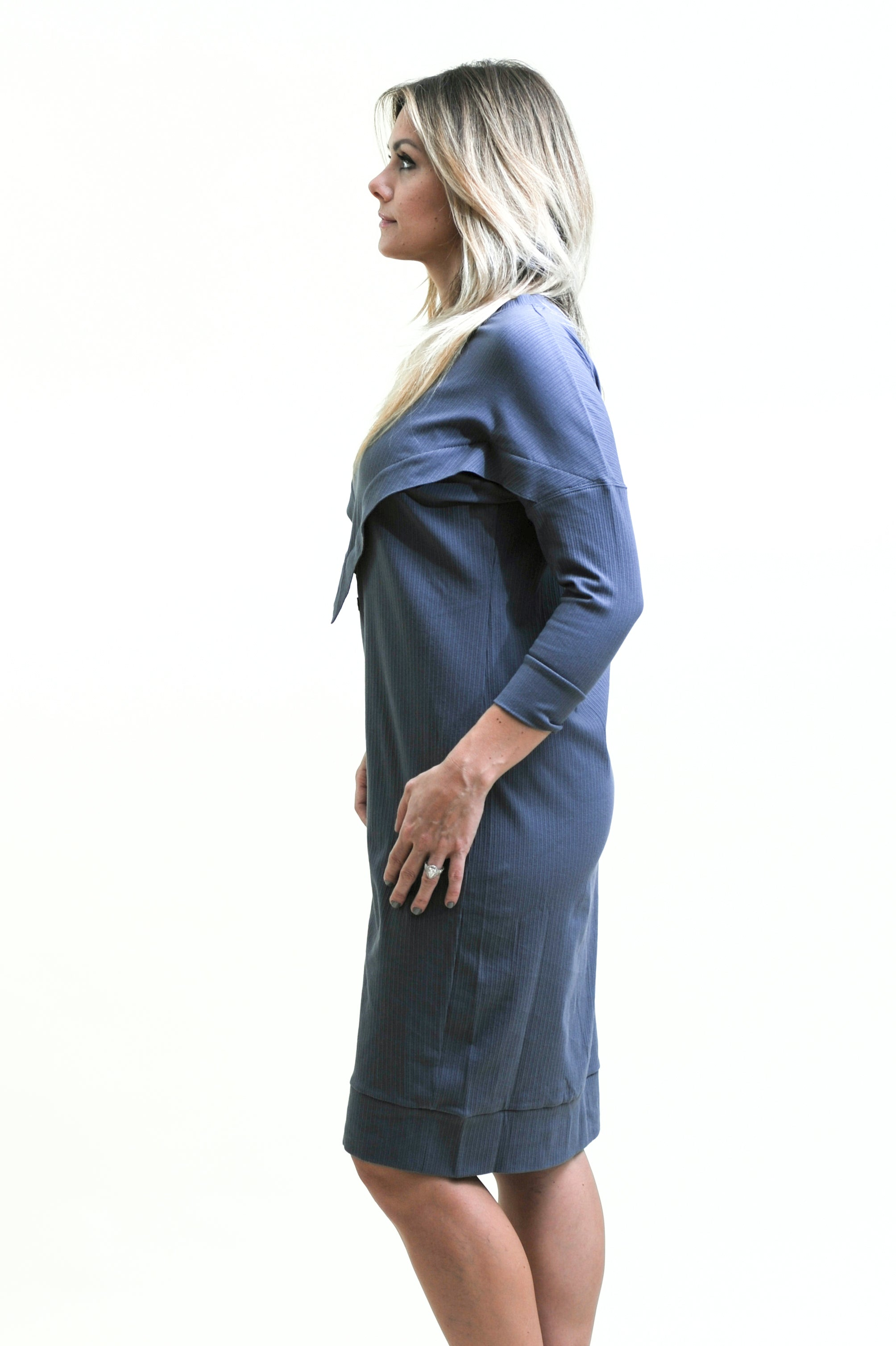 Final Sale! Ribbed Varsity Dress in Blue skin to skin contact dress for nursing and beyond