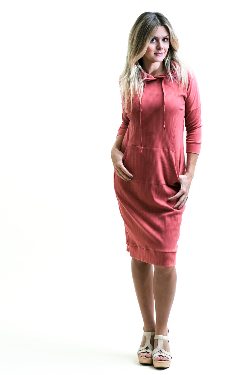 Ribbed Summer Hoodie in pink- Nursing friendly and beyond midi dress