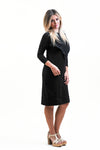 Ribbed Varsity Dress in Black skin to skin contact dress for nursing and beyond