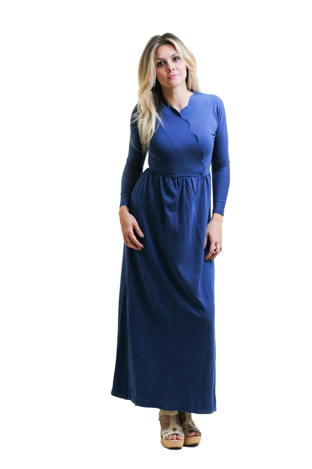 Scallop Maxi in Teal Nursing Friendly Maxi Dress with hidden snaps