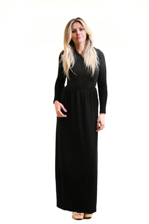 Scallop Maxi in Fancy Black Nursing Friendly Maxi Dress with hidden snaps