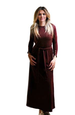 Burgundy Ribbed Maxi Dress with gold buttons nursing friendly