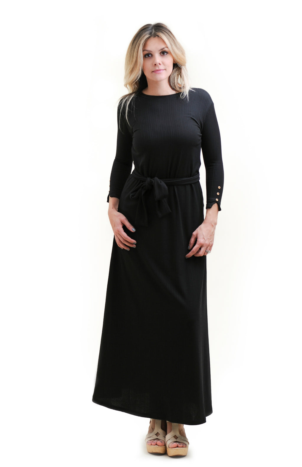 Black Ribbed Maxi Dress with gold buttons nursing friendly