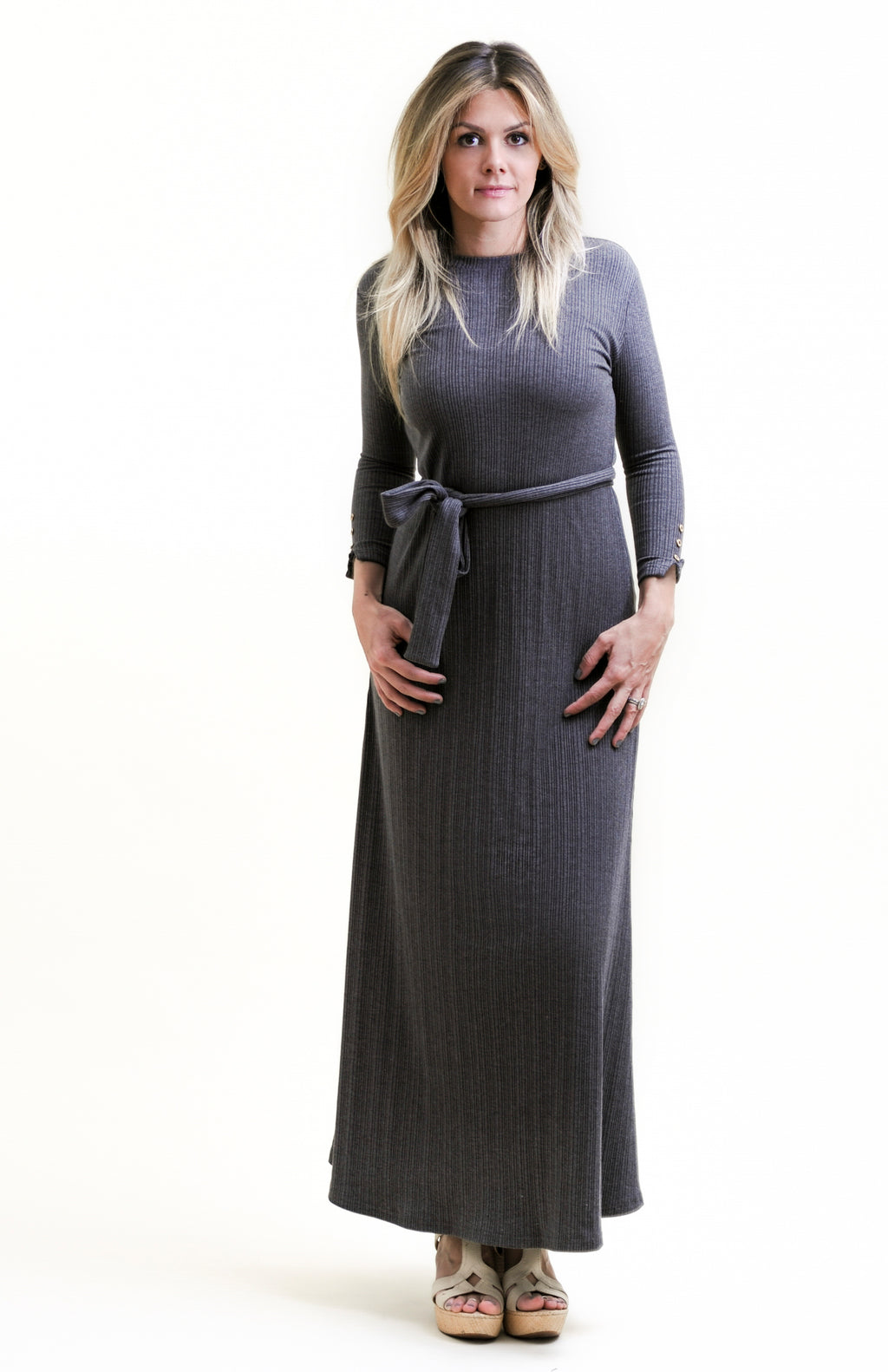 Heather Grey Ribbed Maxi Dress with gold buttons nursing friendly