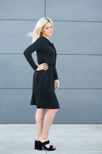 Havah DELUXE Tie Dress - Nursing Friendly Modest Midi Dress in Black
