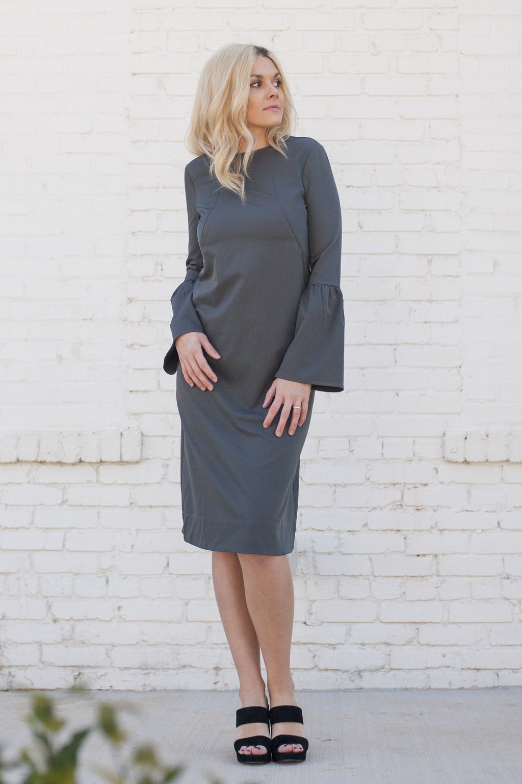 Havah Bell - Nursing Friendly Midi Dress - Grey