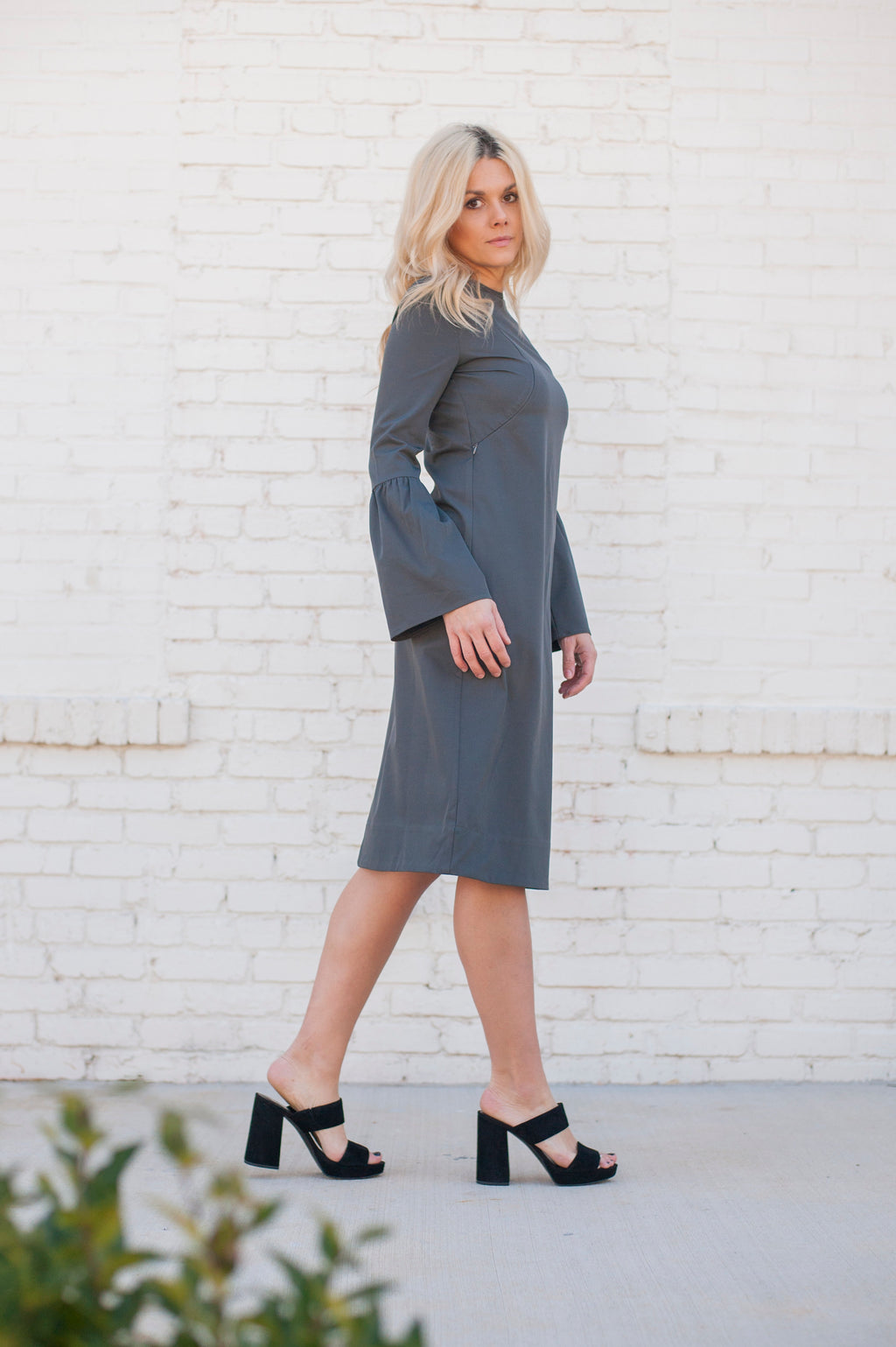* FINAL SALE* Havah Bell - Nursing Friendly Midi Dress in Grey