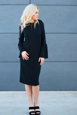 Havah Bell DELUXE - Nursing Friendly Bell Sleeve Modest Midi Dress in Black