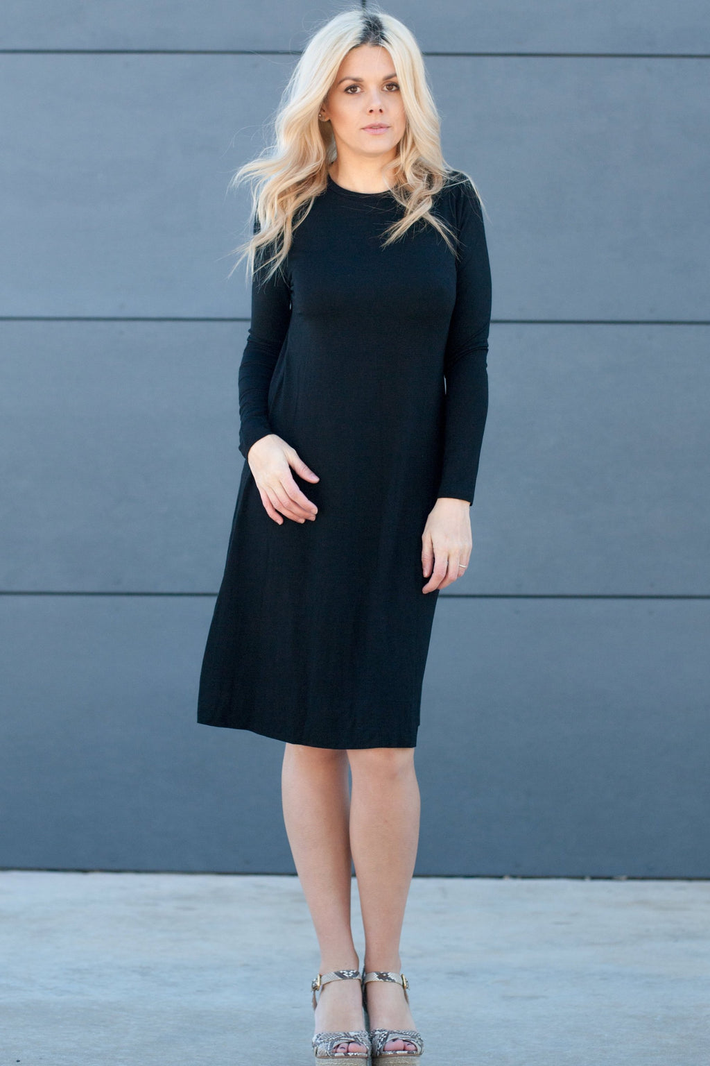 Sundrop Dress in Black - Nursing Friendly Midi with Side Zippers 43""