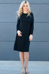 HavahBasics Sundrop Dress in Black - Nursing Friendly Midi with Side Zippers