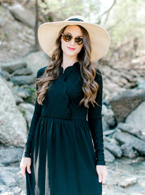 Final sale Scalloped Maxi Dress in Black - Nursing Friendly Maxi with Snaps in Black