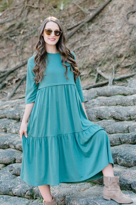 Havah Tier Dress in Light Green *FINAL SALE* (Tiered)