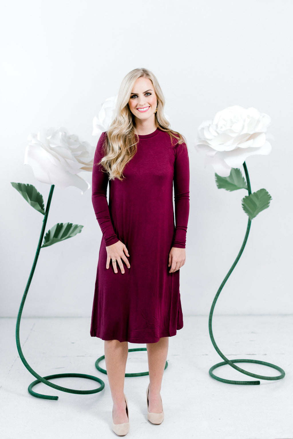 Burgundy Sundrop - 2 Lengths- Nursing Friendly Midi Length Dress