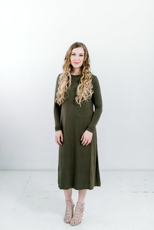 Olive Sundrop Nursing Friendly Midi Dress in 2 lengths