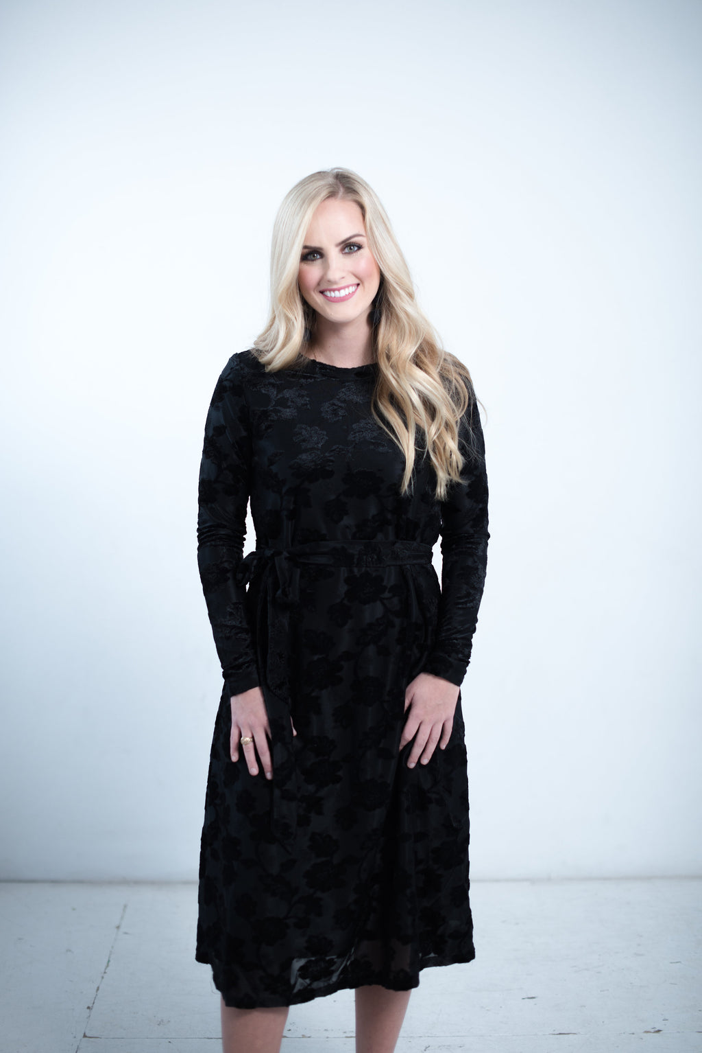 The Shaina Dress in Black- Nursing Friendly Midi Dress Fancy