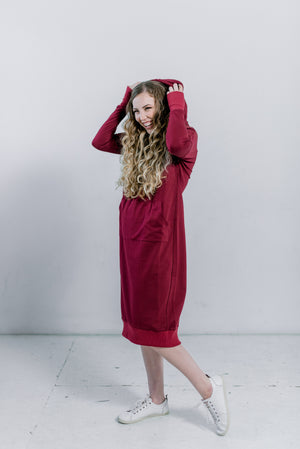Burgundy Sweatshirt Dress Nursing Friendly Midi Dress