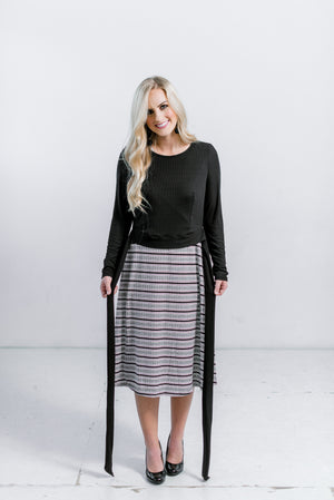 Ribbed Molly Dress - 2 piece maternity and nursing friendly dress and top black/white striped