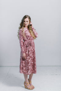 The Shaina Dress in Rose Dust- Nursing Friendly Midi Dress Fancy