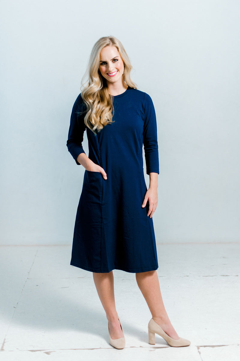 Navy Pocket Nursing Friendly Dress Midi Length Patent Pending