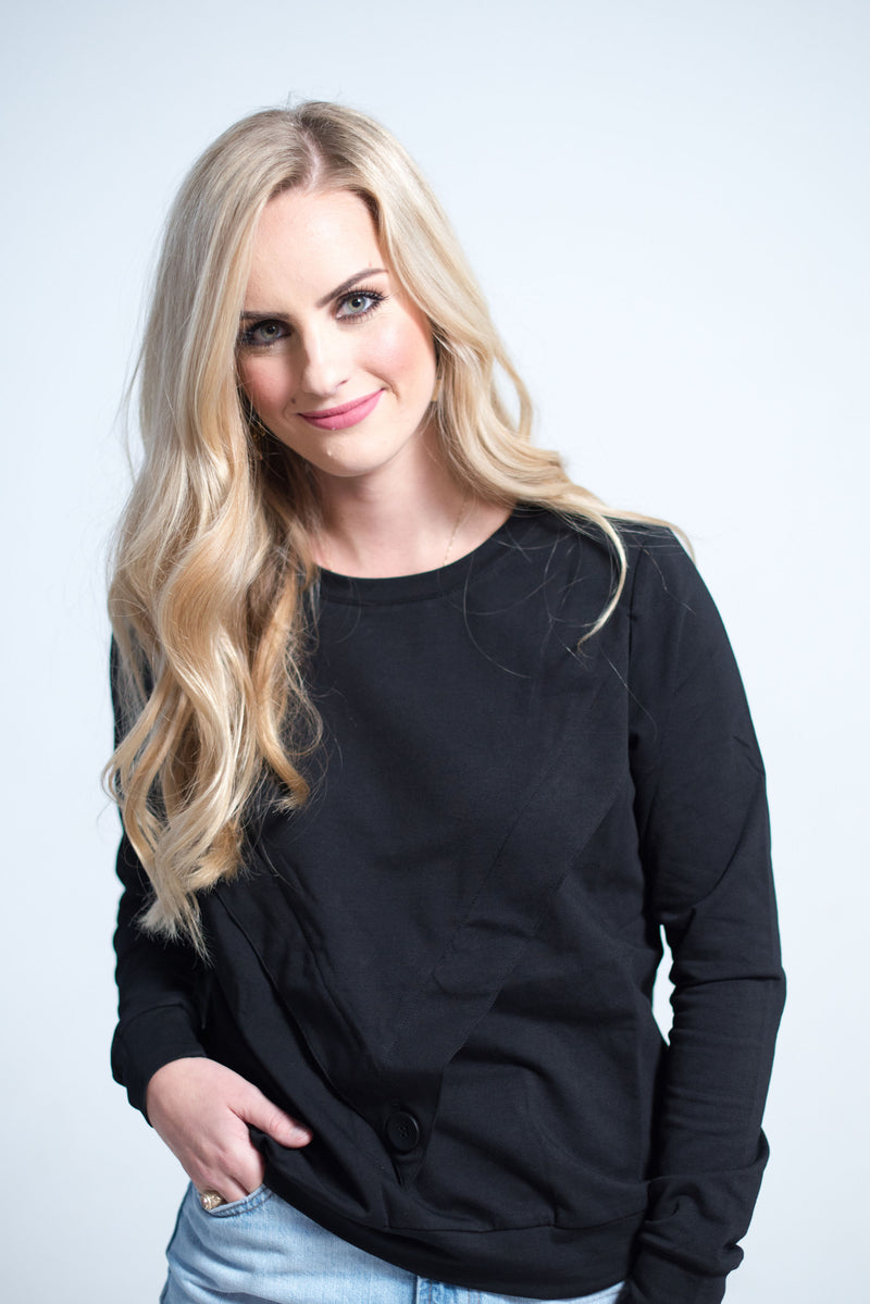 Havah Varsity Top in Black- Nursing Friendly Top and Beyond maternity