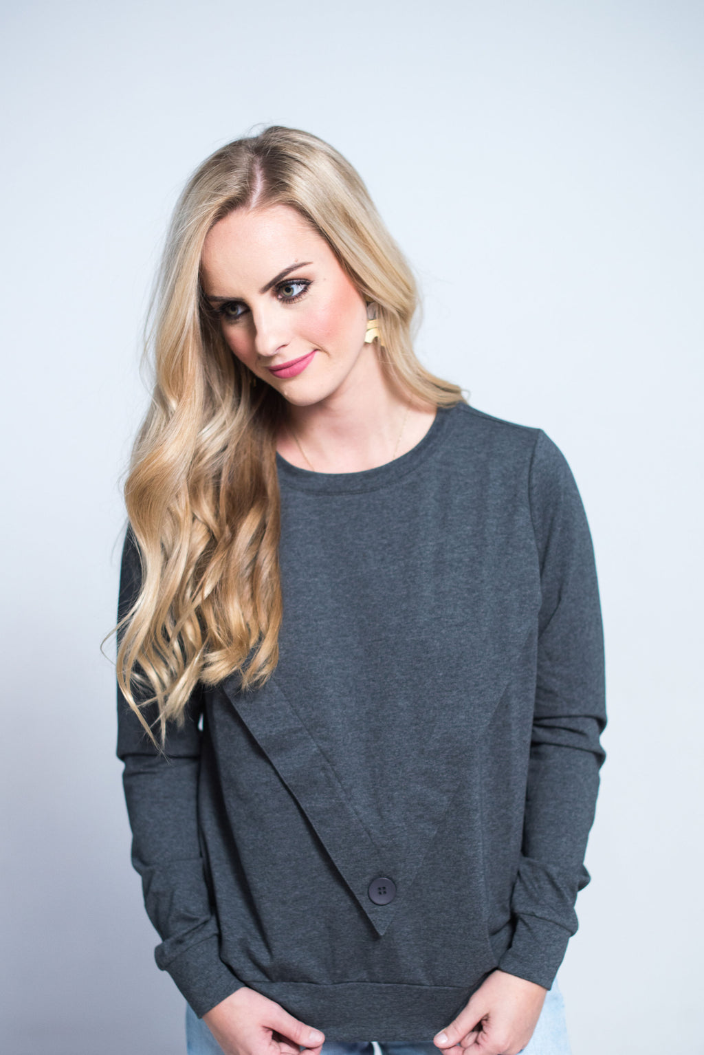 Havah Varsity Top in Charcoal Nursing Friendly and Beyond Top