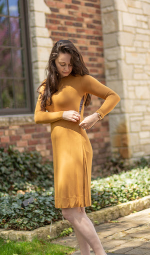 FINAL SALE HavahBasics Sundrop Dress in Gold Mustard - Nursing Friendly Midi with Side Zippers