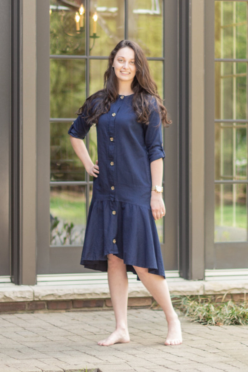 Final Sale Havah Thrill Dress in Navy - Nursing Friendly Dress with Hidden Zippers