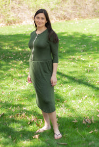 Havah O Dress in Summer Green (2 Colors Available) - Nursing Dress with Zipper Front