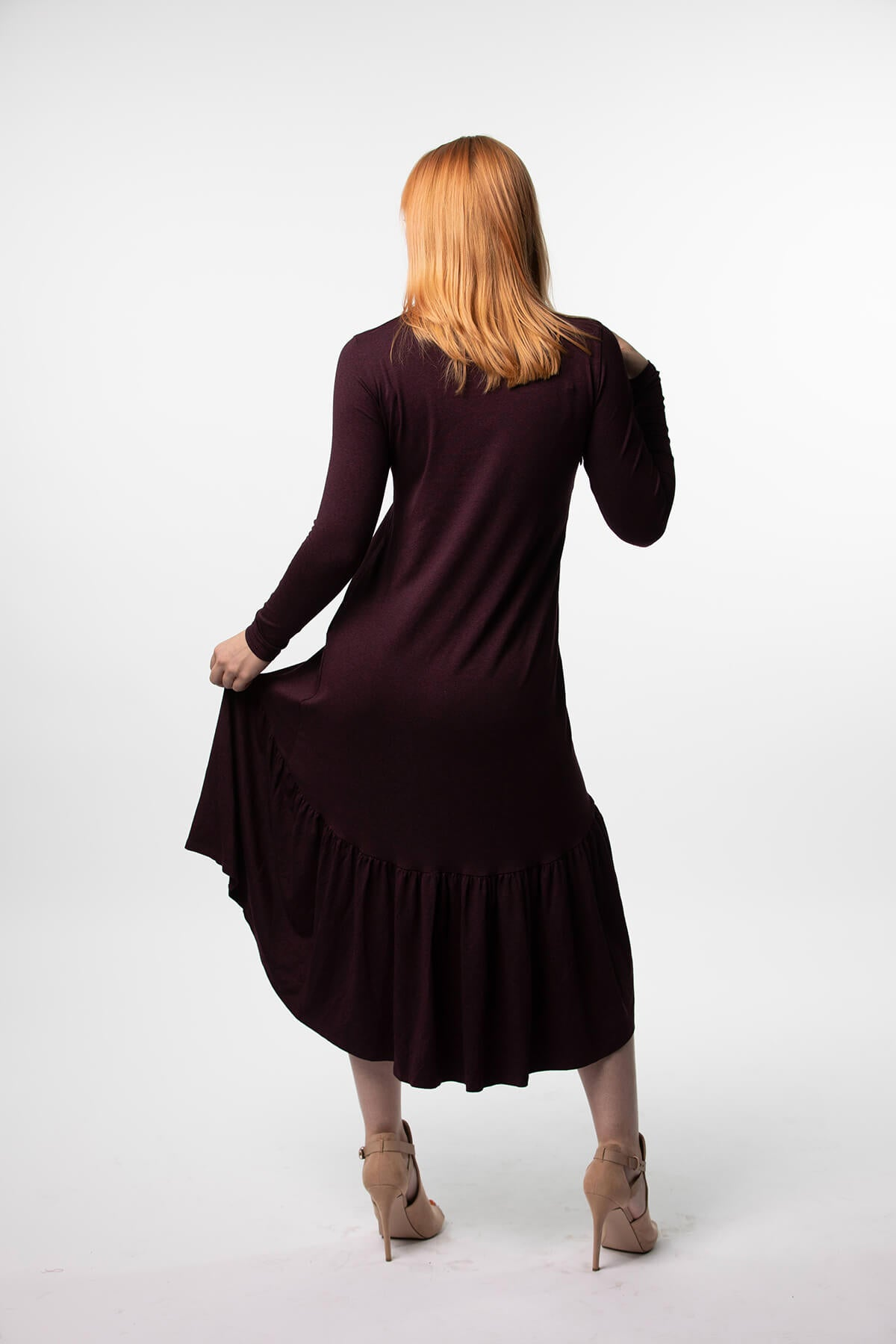 Final Sale- High low Dress in Eggplant, Teal and Black Ribbed