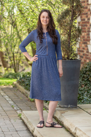 BLOWOUT Final sale Havah O Dress in Warm Blue  - Nursing Dress with Zipper Front