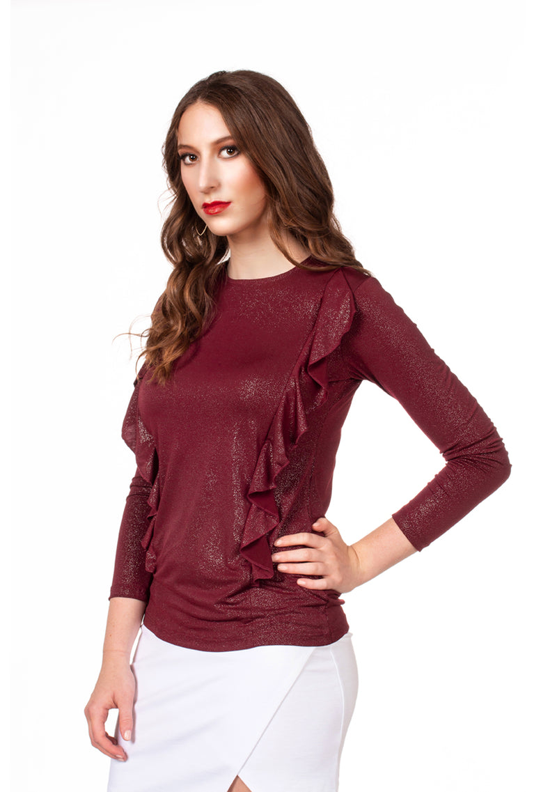 FINAL SALE Havah Wave Top in Burgundy Sparkle - Nursing Friendly with Hidden Zippers
