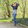 FINAL SALE Havah Always Shine Top in Navy/Silver Shine - Nursing Friendly Top with Hidden Opening