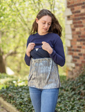 Havah Always Shine Top in Navy/Silver Shine (3 Colors Available) - Nursing Friendly Top with Hidden Opening