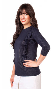 Havah Wave Top in Navy Sparkle - Nursing Friendly with Hidden Zippers