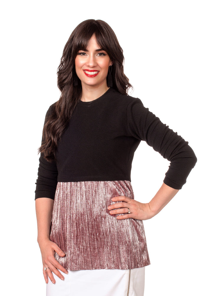 FINAL SALE Havah Always Shine Black/Burgundy Shine - Nursing Friendly Top with Hidden Opening