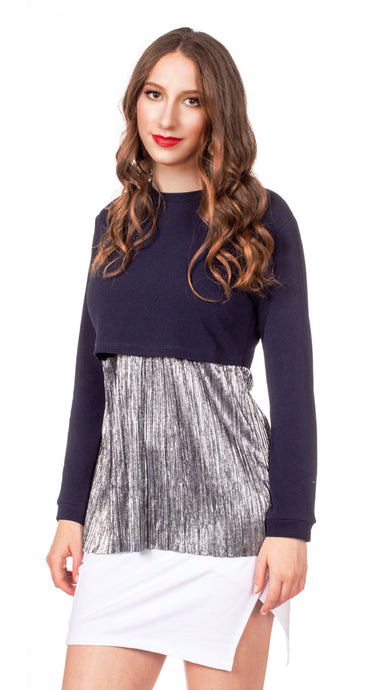 Havah Always Shine Top in Navy/Silver Shine - Nursing Friendly Top with Hidden Opening