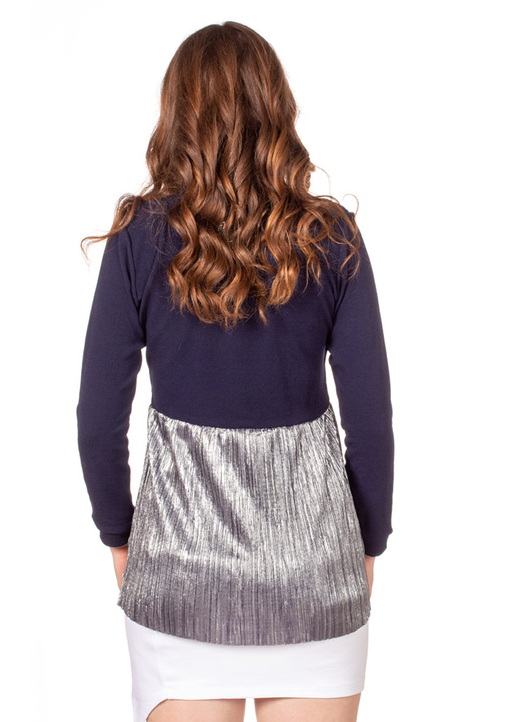 Always Shine Top - Nursing Friendly Top with Hidden Opening - Navy/Silver