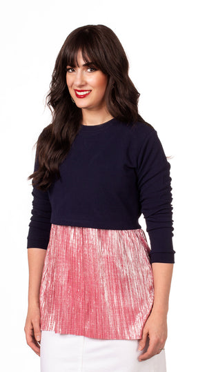 BLOWOUT FINAL SALE Havah Always Shine Top in Navy/Pink Shine - Nursing Friendly Top with Hidden Opening