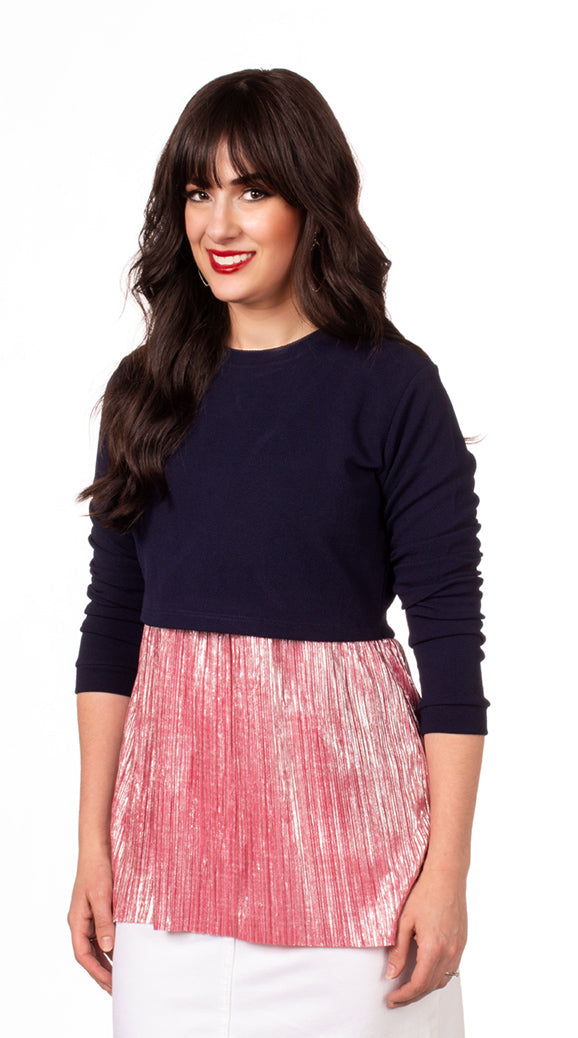 FINAL SALE Havah Always Shine Top in Navy/Pink Shine - Nursing Friendly Top with Hidden Opening